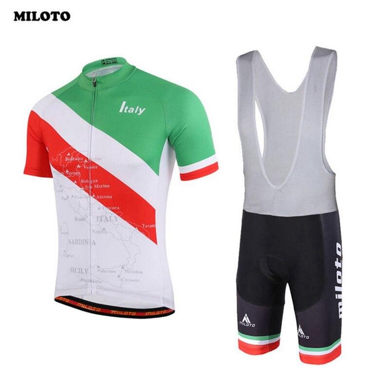 Prix pour MILOTO Vélo Jersey Cuissard Set Ropa Ciclismo Extérieure Blanc-Vert Vélo Vêtements À Manches Courtes Bike Wear Ensembles