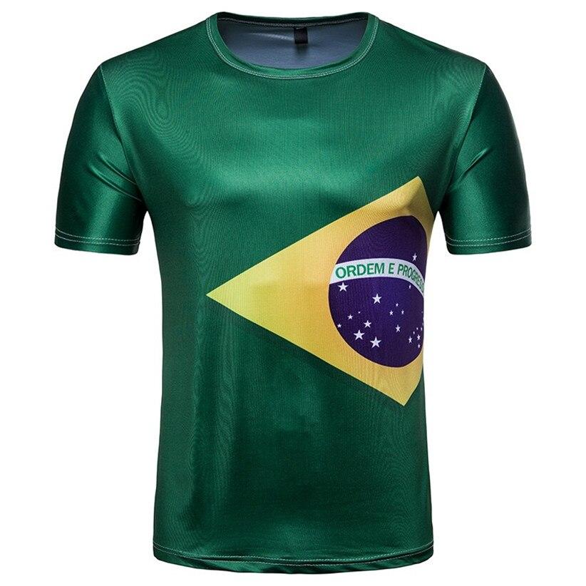 Watch World Game Together Man's Summer Brazil Flag Print World Game T Shirt 80402