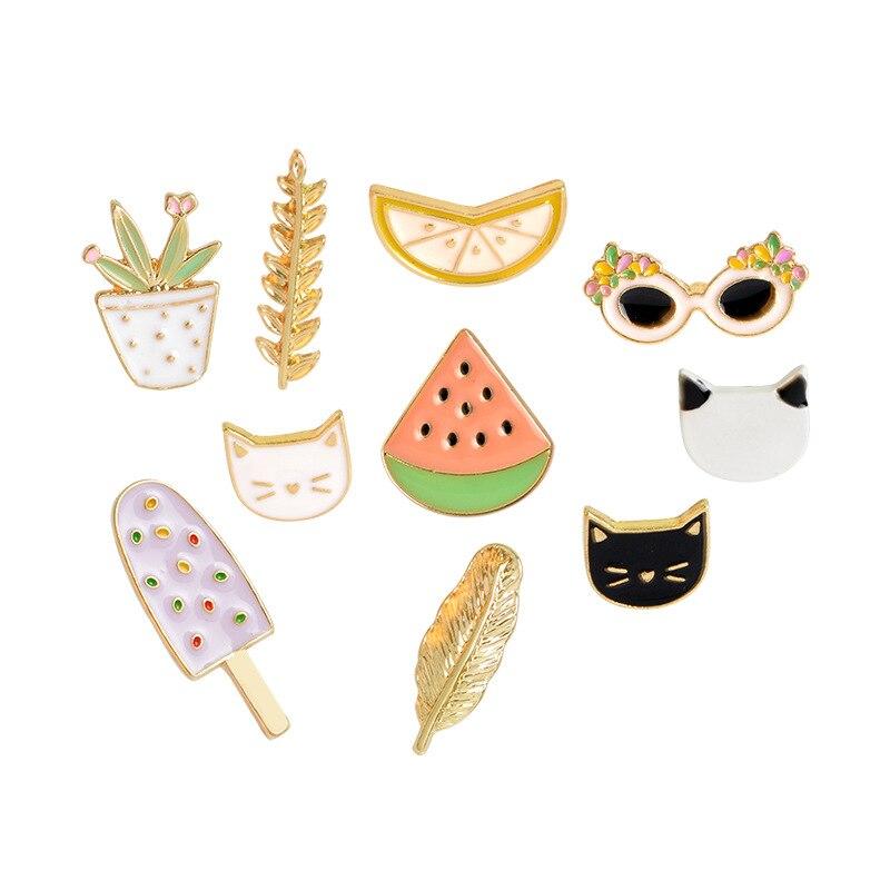 3-7 pcs/set Animal Cartoon Brooch Pin Animal Coffee Fruit Organ Food Plant Jacket Lapel Jacket T-shirt Pin Badge Cute Jewelry