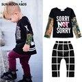 Sun Moon Niños Tatuaje Mangas T-shirt + pants 2 Unids muchachos determinados de la ropa streetwear niños bebés niñas ropa de los niños del otoño disfraces