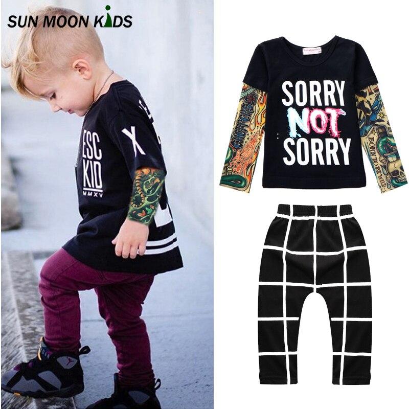 Sun moon kids mangas tatuaje camiseta + pants 2 unids muchachos que arropan el s
