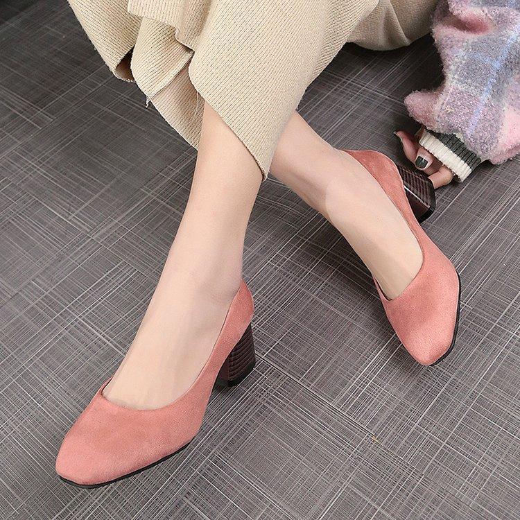 Todas on Cabeza Mujer rosado De rojo Otoño Slip Bombas Tacón Zapatos Beige Grueso 2019 negro Primavera brown Mujeres Las Cuadrada Coreano W0zpOnIZ
