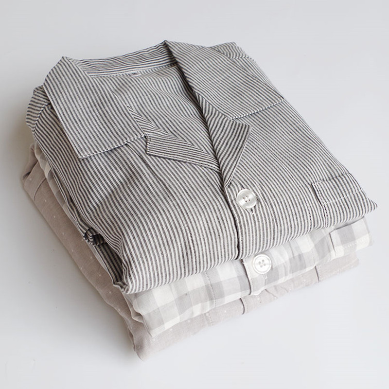Men's Pajamas Summer Short Sleeve Cardigan Stripe Sleepwear Cotton Thin Pyjamas Men's Sleep Lounge Pajama Set Trousers