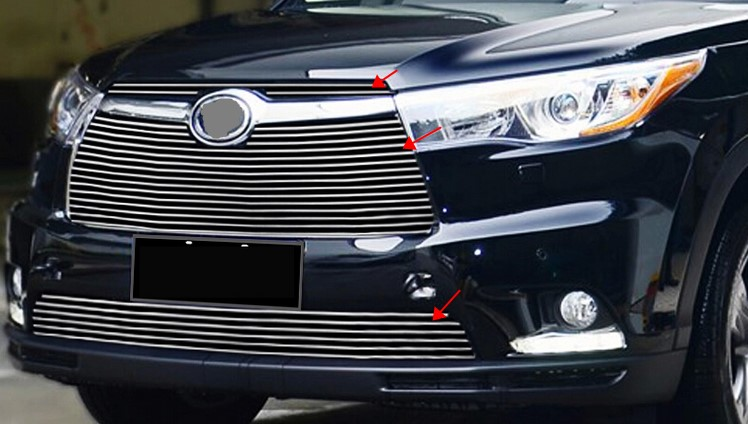 around the front grille trimmed to fit grills Racing 2014 2015 TOYOTA HIGHLANDER 4 PCS