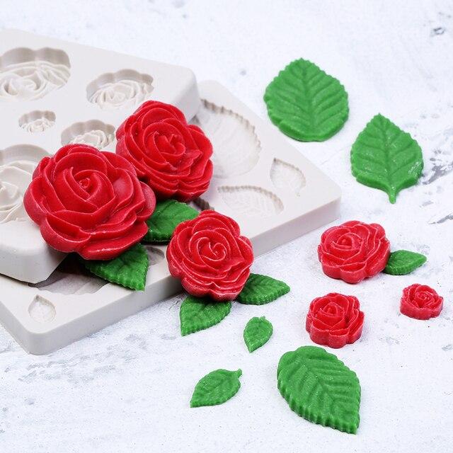 1 Pcs Sugarcraft Rose Fiori Foglie di Stampo In Silicone Della Torta Del Fondent