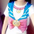 Sudaderas Mujer 2016 Японский Sailor Moon Kawaii Футболка Blusa Roupas Короткий рукав Хлопок футболка Девушку Одежда Баски Топы
