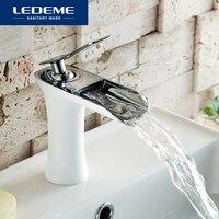 LEDEME Basin Faucet Bathroom Faucet Single handle Brass Sink Water Crane Basin Mixer Tap Waterfall Faucet L1055 23 L1055W 23