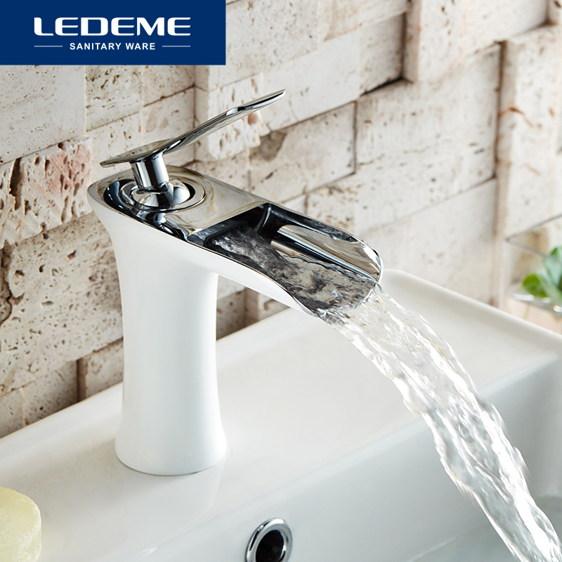 LEDEME Basin Faucet Bathroom Faucet Single handle Brass Sink Water Crane Basin Mixer Tap Waterfall Faucet L1055-23 L1055W-23LEDEME Basin Faucet Bathroom Faucet Single handle Brass Sink Water Crane Basin Mixer Tap Waterfall Faucet L1055-23 L1055W-23