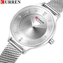 Fashion Slim Womens Horloges Met Strass Set Dial CURREN Mooie Analoge Quartz Horloge Voor Dames Sliver Vrouwelijke Klok