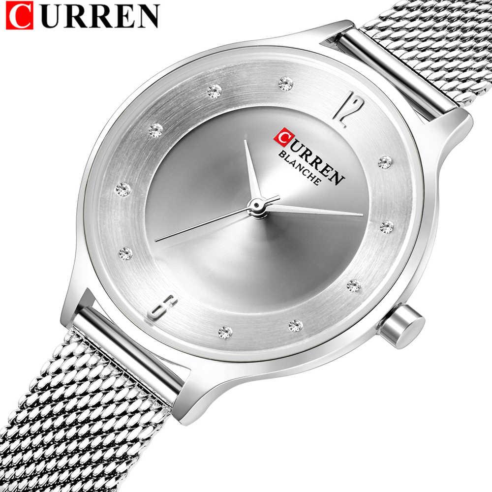 אופנה Slim נשים שעונים עם ריינסטון סט חיוג CURREN יפה אנלוגי קוורץ שעון יד לנשים רסיס נקבה שעון