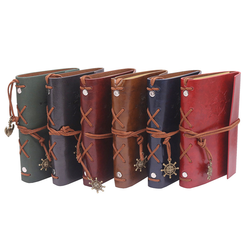 10 pcs Diary Book Notebook Vintage Pirate Note Book Replaceable Traveler Notepad Book Leather Cover Blank