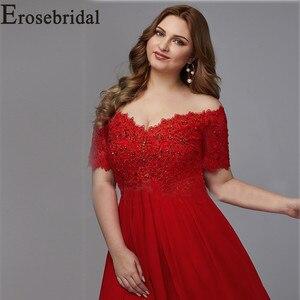 Image 3 - Elegant Formal Dresses Evening Gown Plus Size Long Evening Dress 2019 Red Elegant Party Gown Short Sleeve Robe Soiree