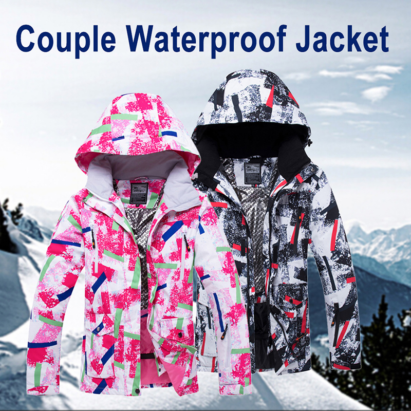 En plein air Thermique vestes imperméables homme femme Hiver Ski Mâle Neige Ski Coupe-Vent Snowboard Couple Rose Noir
