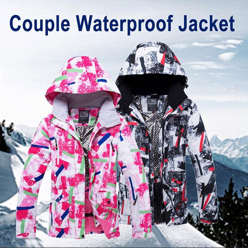 Extérieur thermique imperméable vestes hommes femmes hiver Ski mâle neige Ski coupe-vent Snowboard Couple rose noir