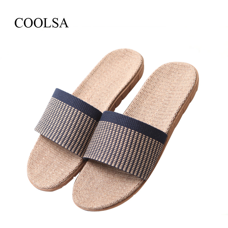 COOLSA Men's Non-slip Linen Slippers Zapatos Hombre EVA Soles Canvas Cotton Fabric Vamp Slippers Men's Slides Fashion Flip Flops coolsa men s non slip linen slippers zapatos hombre eva soles canvas cotton fabric vamp slippers men s slides fashion flip flops