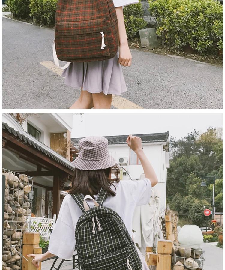 HTB1dwv2PXzqK1RjSZFoq6zfcXXa3 2 Pieces Japan style Plaid Style Women Backpack Pencil Case Student Girl School Bag Travel Shoulder Bag For Women 2019 Bagpack