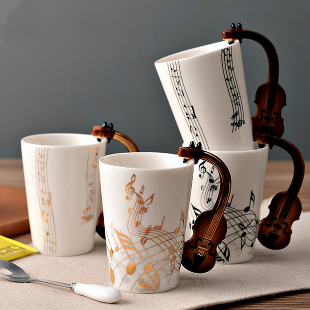 Music Kitchen Creative Cute Musical Violin Guitar Clarinet Ceramic Coffee Cup Handgrip Water Caneca Cafe Cups
