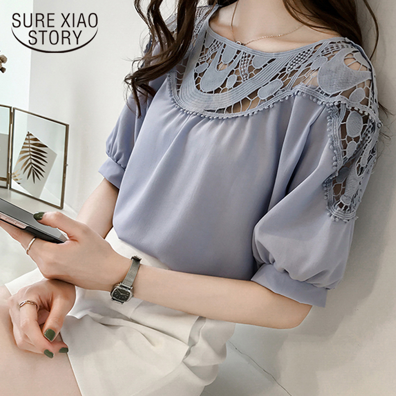 New 2018 Fashion Short Sleeve Women   Blouse     Shirts   Chiffon Summer Sexy Hollow Out Women Clothing Plus Size Women Tops 0621 40