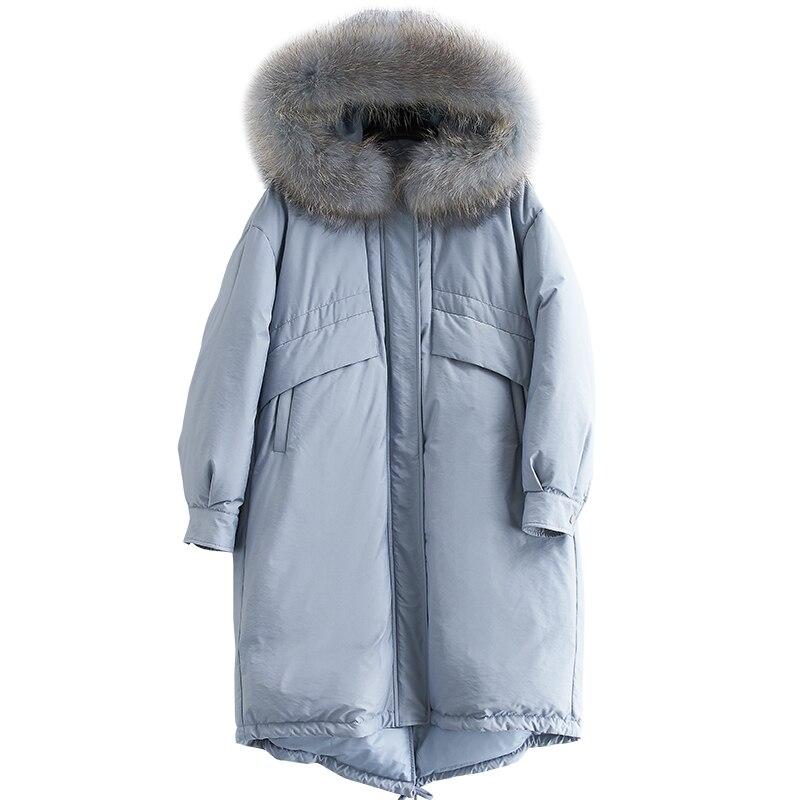 Femmes de Down Parka Avec Capuche Hiver 90% Blanc Duvet de Canard Veste Femmes Raton Laveur Grand Col De Fourrure Long Survêtement Épais manteau d'hiver