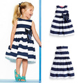 Baby Kid Girls One Piece Dress Blue White Striped Bow Summer Tutu Dress 1-5Y