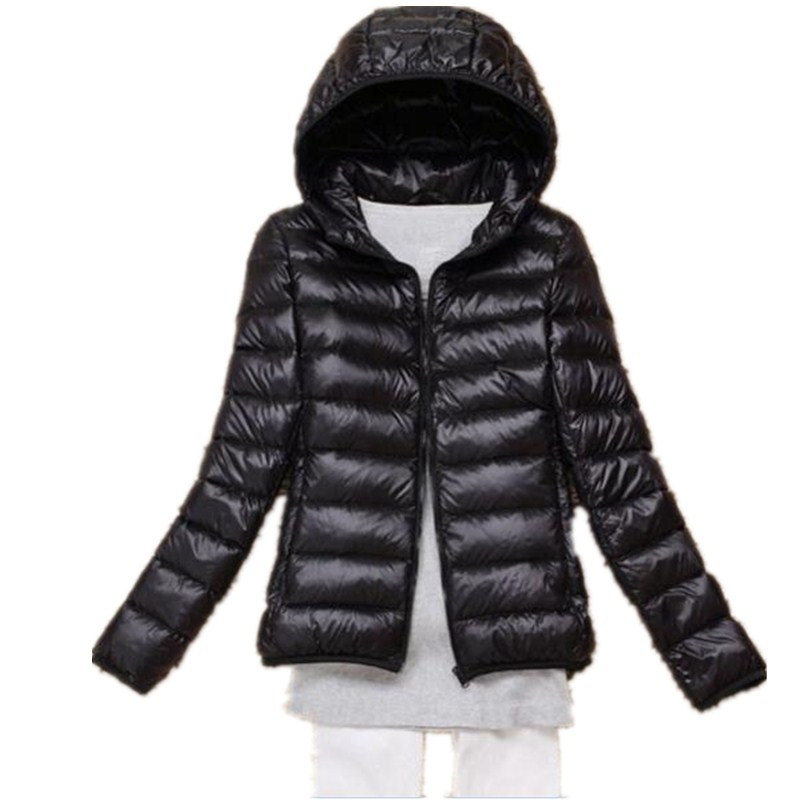 OMLESA 2017 New Autumn Winter Women Down Jacket Ultra Light Snow Coat Hooded White Duck Down Jackets Thin Feather Jacket YQ142