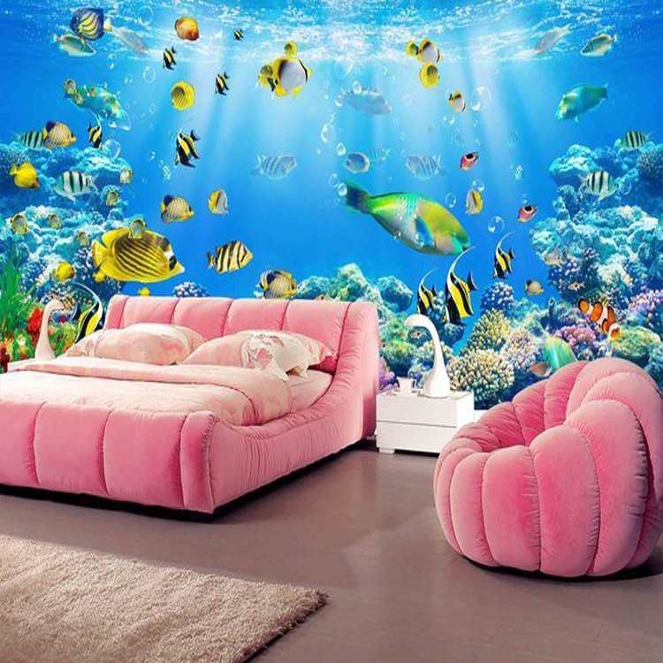 Custom photo wallpaper 3D ocean world theme large mural living room sofa wallpaper living room bedroom wallpaper mural custom 3d stereoscopic large mural space living room sofa bedroom tv backdrop 3d wallpaper woods nature