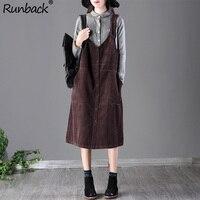 Runback Vintage Midi Warm Dress Women Straps Corduroy Pinafore Bib Pocket Overall Plus Size Street Style Autumn Winter 2019 Jurk