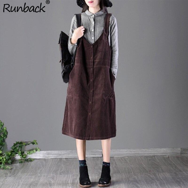 Runback Vintage Midi chaud robe femmes bretelles velours côtelé pinabefore bavoir poche globale grande taille Style de rue automne hiver 2019 Jurk