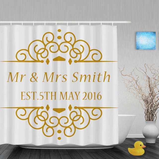 Custom S Name And Wedding Date Shower Curtain Personalized Bathroom Curtains Polyester Fabric With Hooks