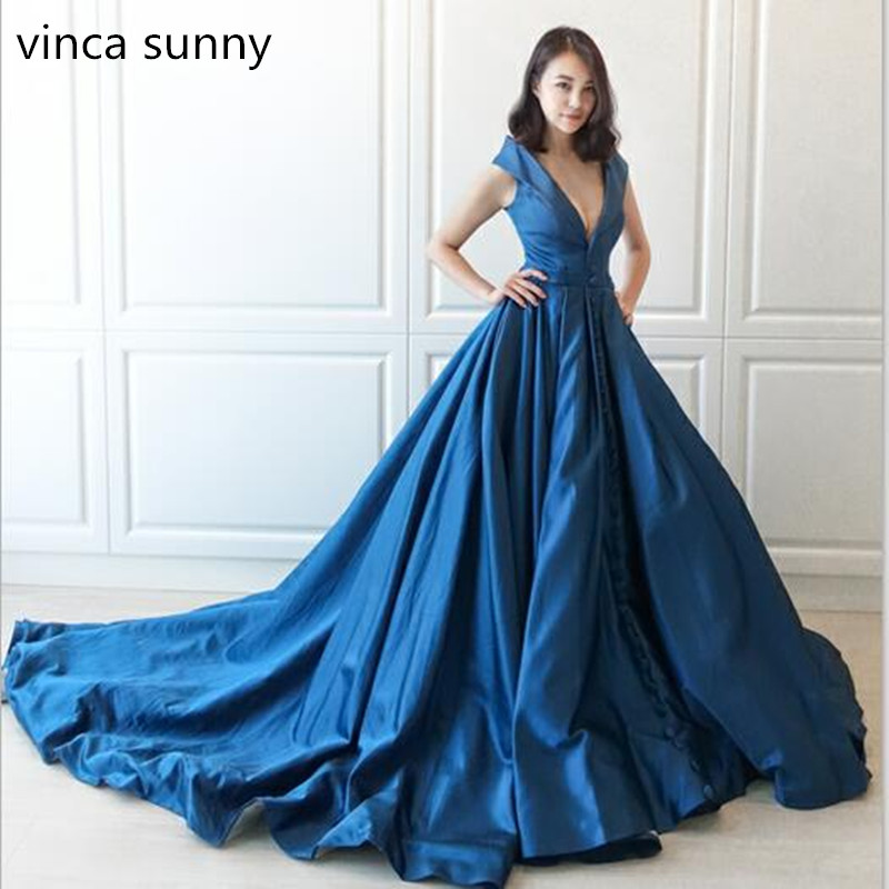 2019 Sexy Blue Satin Evening Dresses Celebrity Dresses Custom Made Pleat Ball Gown Plunging V Neck Ball Gowns