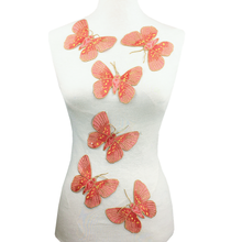 6pc 12x10cm Sew On Butterfly Embroidered Patch Embroidery Insect Applique Patches For Clothing Parches Bordados Ropa AC1256 butterfly embroidered applique tee