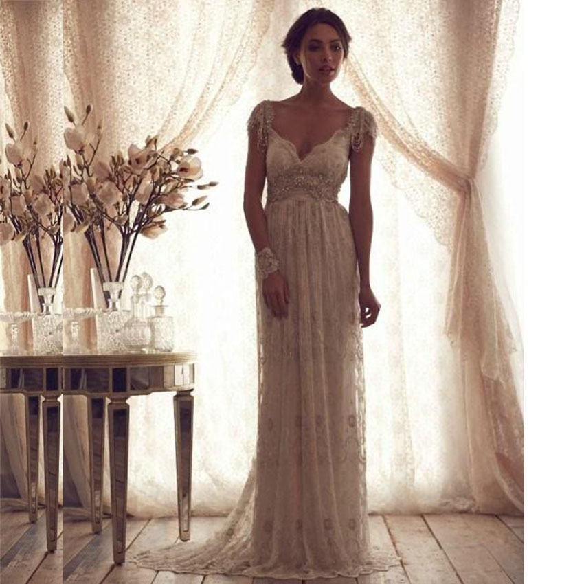Gorgeous Lace Wedding Dresses With Sleeves Backless Court