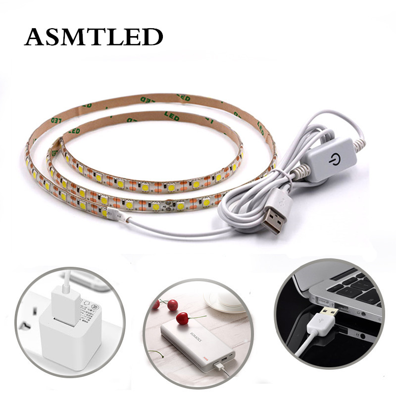 3528 5050 SMD DC 5V USB LED Strip Light+Touch Dimmer Switch Warm White USB charger LED Light Ribbon Decor 0.5M 1M 2M 3M DIY Lamp usb 6 led white light desk lamp w switch clip white silver dc 5v 3 x aaa