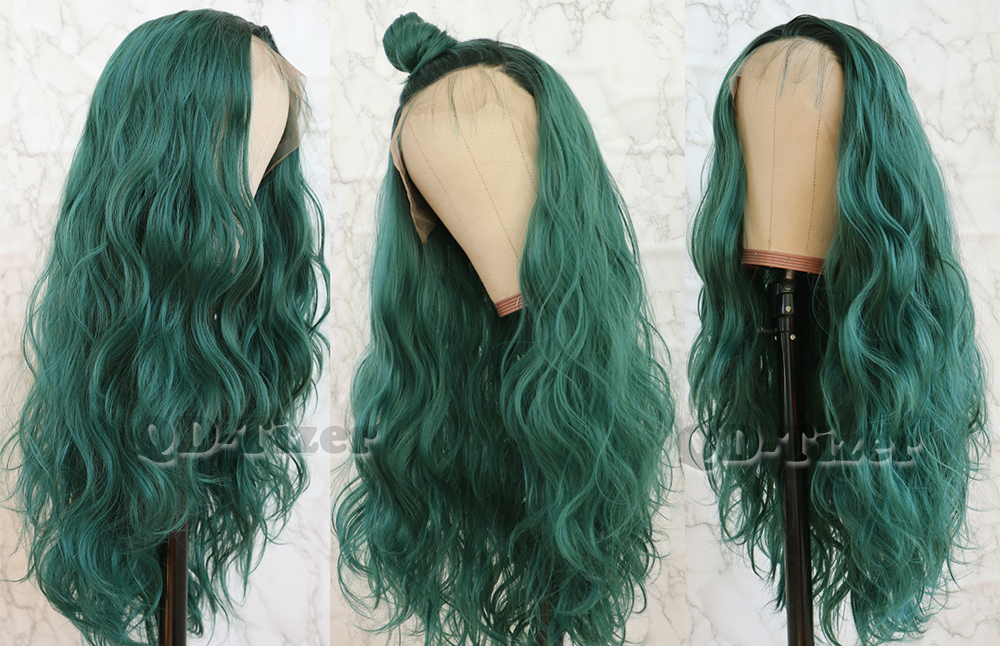 QD-Tizer Hair Loose Wave Hair Lace Wigs with air Glueless Heat R Women Ombre Green Wigs5
