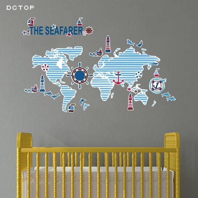 Creative Blue World Map Wall Art Sticker For Boys Room Nursery ...