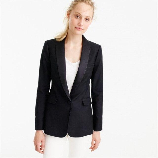 5db8e8569 Chaqueta negro Blanco Pantalones Mujer Trajes de Negocios Oficina Formal  Uniforme del Desgaste Del Trabajo Femenino 2 Unidades Conjuntos Señoras  Chaqueta ...