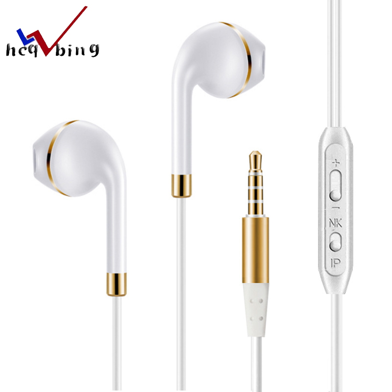 HCQWBING in-ear Stereo Headset earphone Earbuds with Microphone for apple iphone 5s 6s 5 xiaomi bass earbud headset Stereo