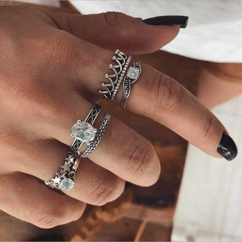 Tocona Bohemian Crown Rhinestone Carved Knuckle Rings Set for Women Crystal Midi Finger Ring Statement Jewelry 6pcs/set 4188