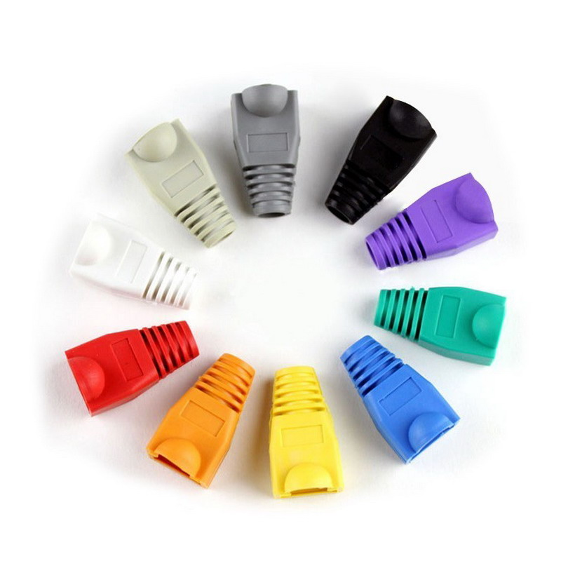 Multi-color CAT5e Crystal Head Sheath Ethernet Cable Protective Case Network Plug Socket Boot Cap SLEEVE RJ45 Connector Jacket