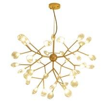 Moderne Goud Zwart Firefly Hanglampen Lange Boom Opknoping Lamp Glas Bladeren armatuur suspendu Hanger Lampen Hanglamp Drop schip