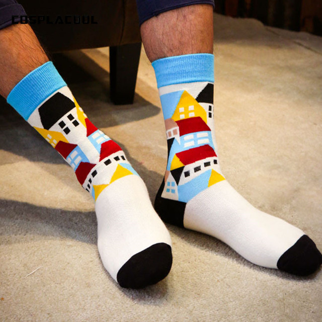 21276cc9b6a8d [COSPLACOOL] Fashion cotton socks gentlemen colorful socks Quilted Jacquard  line hit color business Leisure men socks