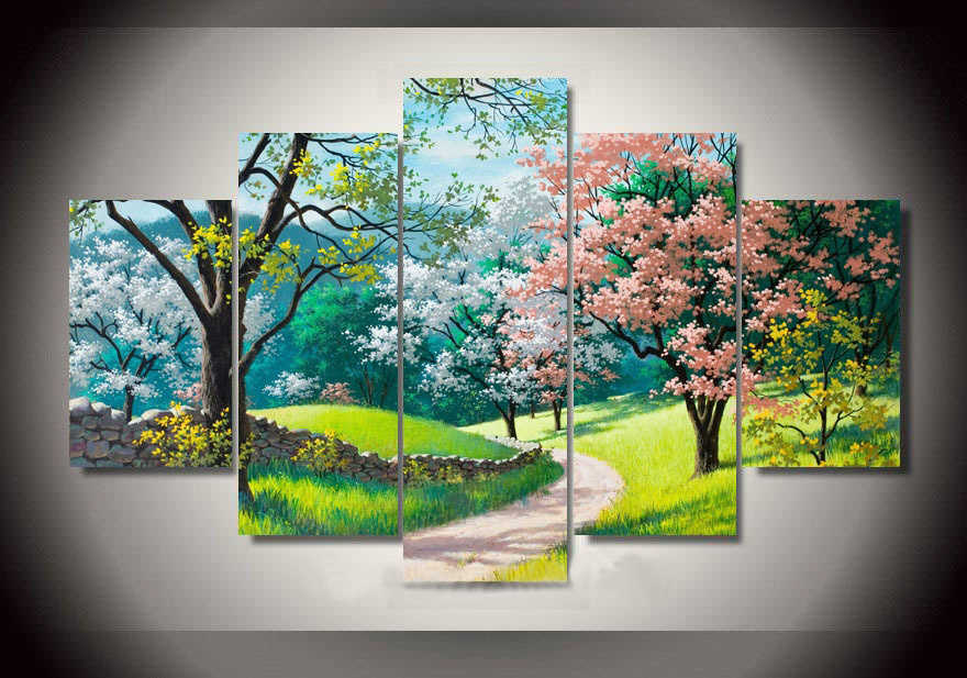 HD 5 Panel High Quality Painted Forest Road Painting Green Tree Oil Painting Wall Art for Living Room Decor Spring  Landscape