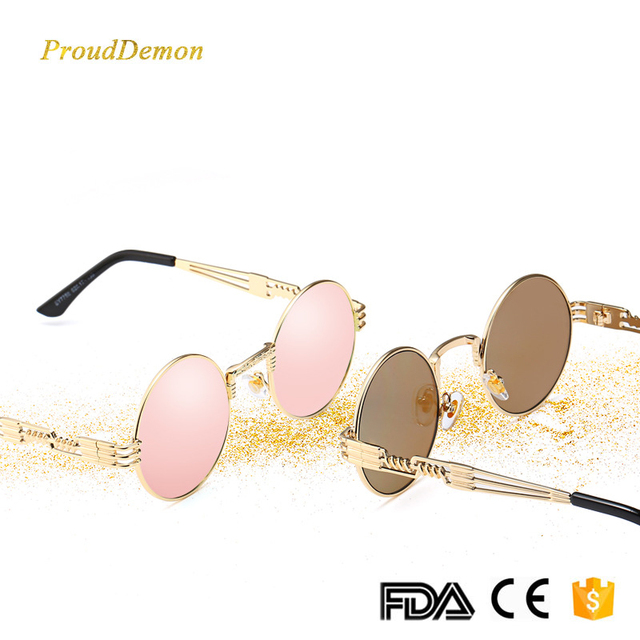 03bfd8b6d22b4 Steampunk Sunglasses Women Men Metal Wrap Eyeglasses Round Shades Brand  Designer Sun glasses Mirror High Quality