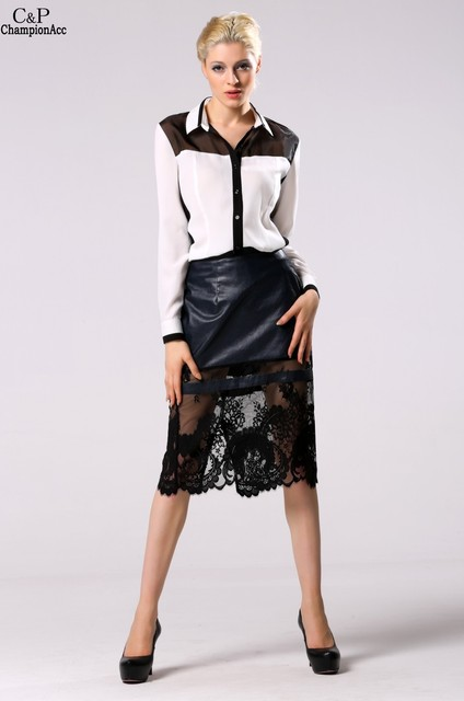 c2ede74af3 Stylish Lady Women High-waist Faux Leather Pencil Skirt Black Leather Skirt  Patchwork Lace Midi Skirt 3XL Plus Size @5K