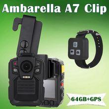 Бесплатная доставка! Ambarella A7 Полиции Для Ношения на Теле Камеры 64 ГБ GPS 1296 P Ночного Видения + Пульт Дистанционного Управления