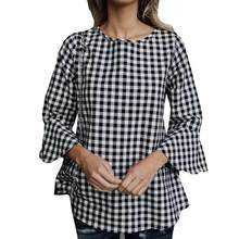 Womens O-Neck Long Sleeve Cotton Blouse Lattice Print Fashion Blouse Female Office Wear Shirt Autumn plicated Tops(China)