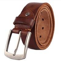 De lujo de los hombres de la correa cinturones puntas hebilla genuina correa de cuero del hombre de jean de la alta calidad de ancho de color marrón moda entrega gratuita
