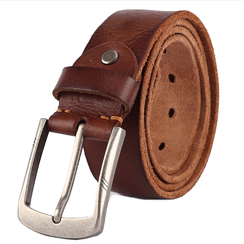 Luxury belt men's belts pronged buckle man's  genuine leather strap for jean high quality wide brown color fashion dropship