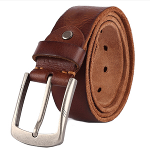 Image 1 - Luxury belt mens belts pronged buckle mans  genuine leather strap for jean high quality wide brown color fashion dropship