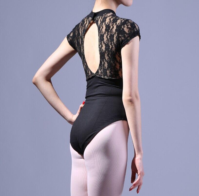 Ballet leotard halterneck lace turtleneck collar short sleeve and long sleeve gym leotard elastic lace